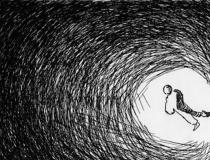 Ilustración en blaco y negro sobre la nada
