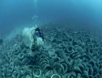 Un vertedero de neumáticos en el fondo del mar
